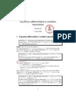 Equations différentielles à variables séparables