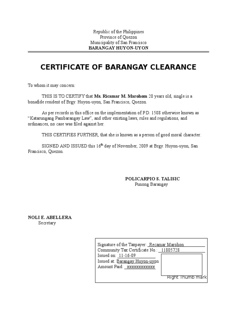 36273013 certificate of barangay clearance government politics yadclub Choice Image