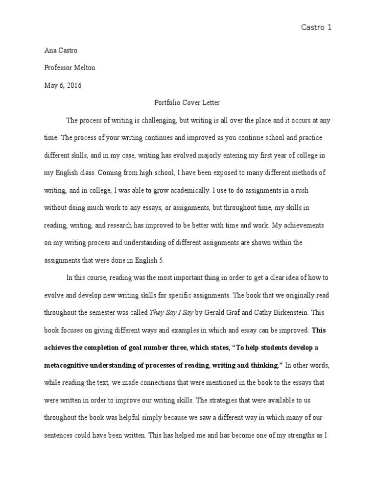 Engl 5 Portfolio Cover Letter Essays Reading Process
