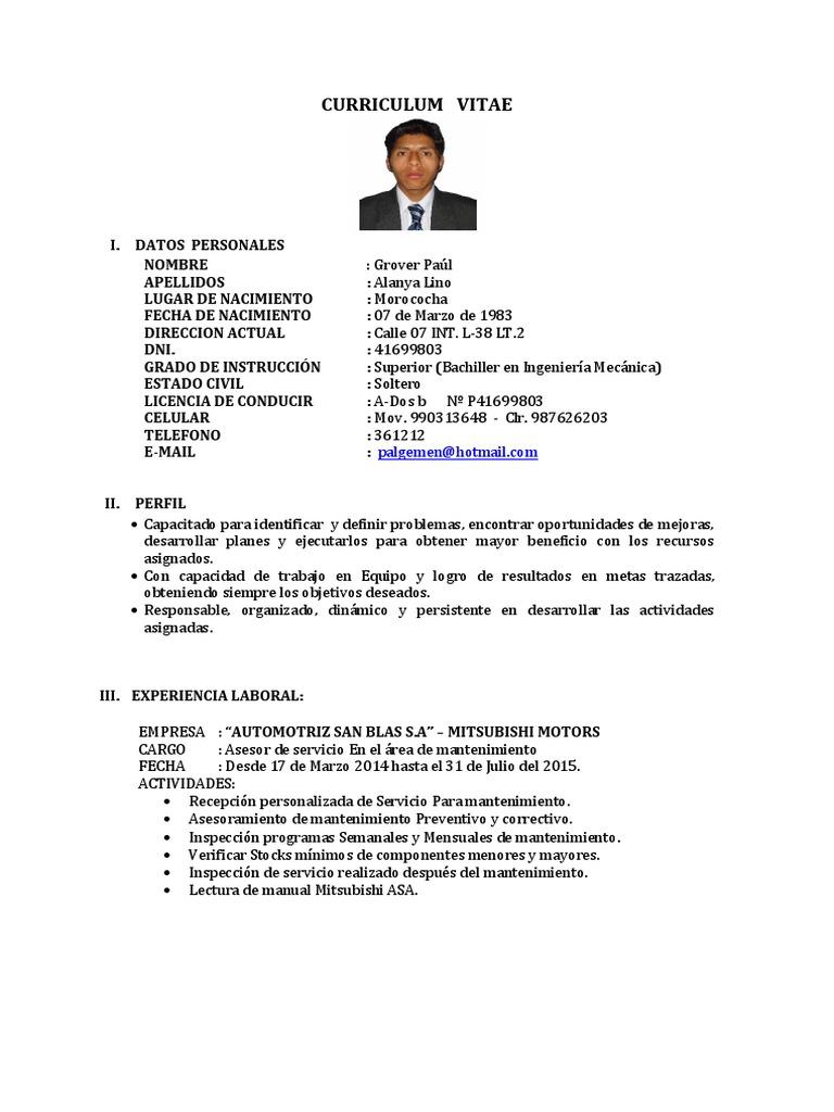 Excelente Curriculum Vitae Instructivo Colección - Ejemplo De ...