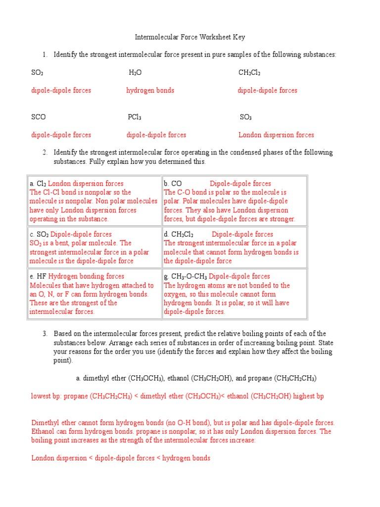 worksheet. Intermolecular Forces Worksheet. Fiercebad Worksheet ...