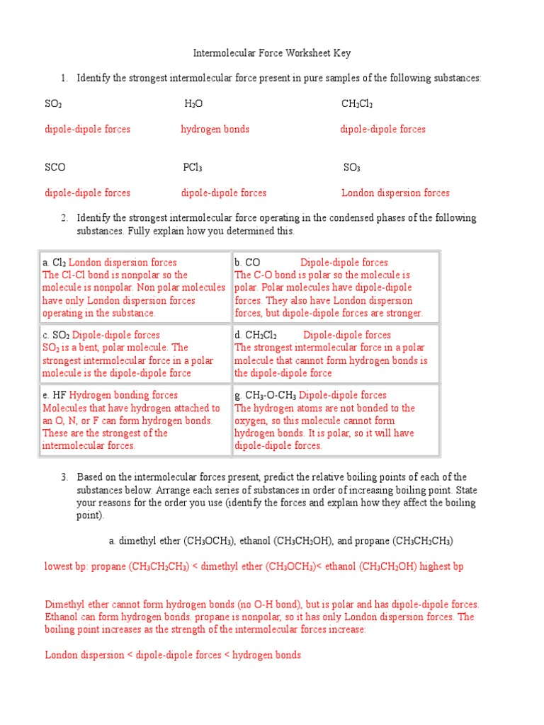Strength Of Intermolecular Forces Worksheet - strength of ...