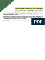 La Logistique de Distribution Dans Le Commerce Électronique