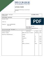 application form uniglam