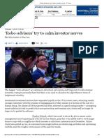 'Robo-Advisers' Try to Calm Investor Nerves - FT