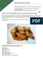 Alitas de Pollo Con Salsa de Soja Miel y Limon