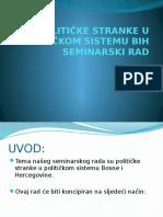 Političke Stranke u Političkom Sistemu Bih Prezentacija