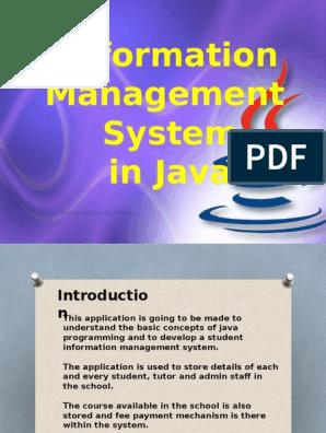 Information Management System in Java