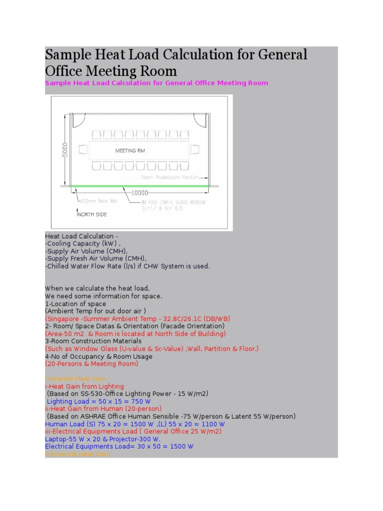 Sample Heat Load Calculation for General Office Meeting Room