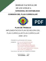 Plan de Trabajo Mejoras de Diseño Curricular 2015-2016 EVALUACION PLAN CURRICULAR.