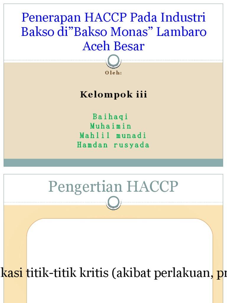 Penerapan haccp pada produk bakso ccuart Gallery