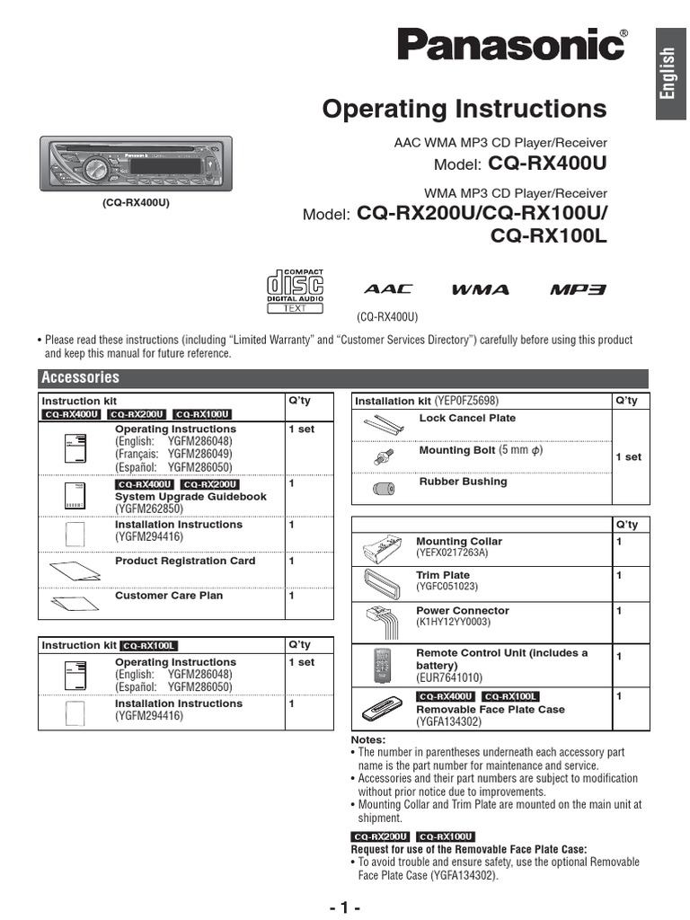 Panasonic Rx400u Wiring Diagram Trusted Diagrams Microwave Manual De Usuario Autoestereo Cqrx100u Mp3 Compact Disc
