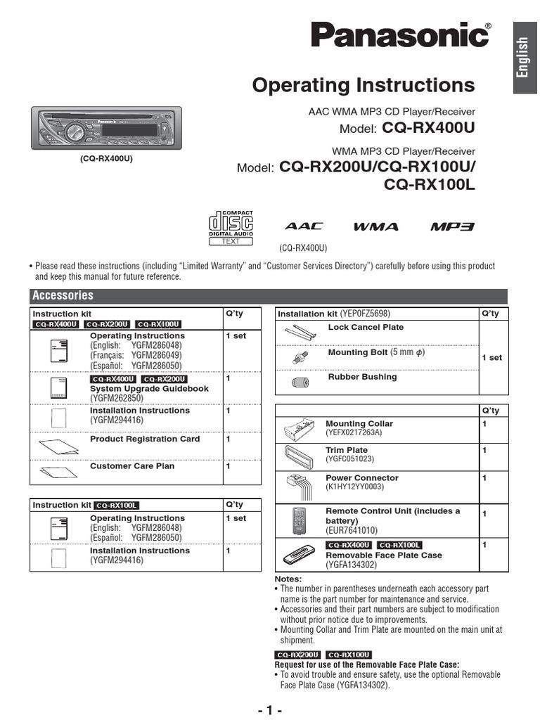 Panasonic Rx400u Wiring Diagram Electrical Diagrams Cd Manual De Usuario Autoestereo Cqrx100u Mp3 Compact Disc Diy Home Theater