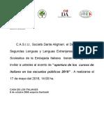 Invitación a apertura de cursos de Italiano - 2016