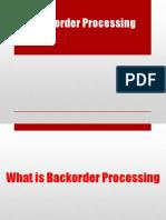 79 Back Order Processing Notes