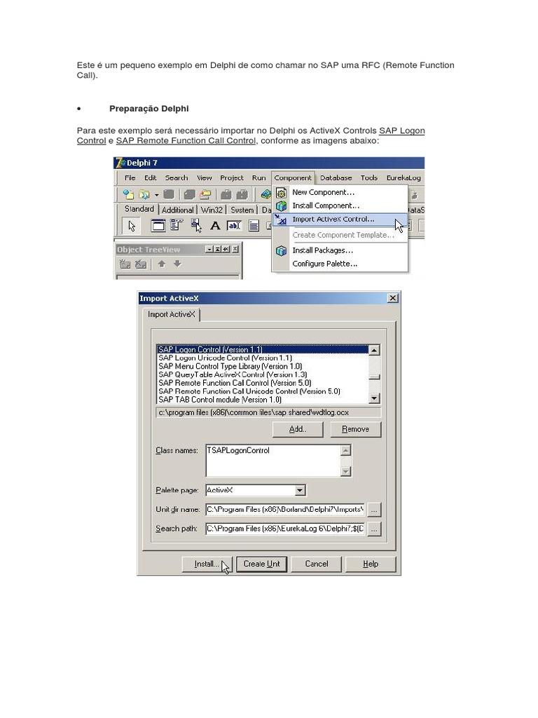 Exemplo - SAP - RFC  Remote Function Call  Com Delphi