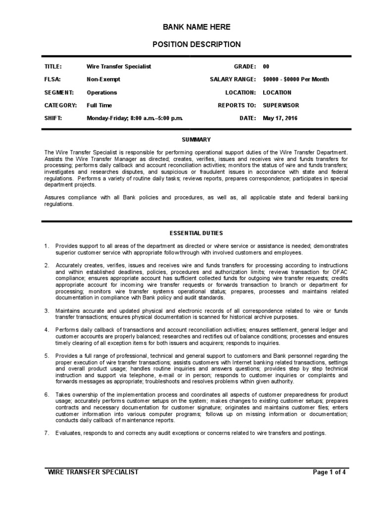 Outstanding Generic Wire Transfer Form Sketch - Wiring Standart ...