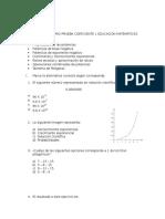 Cuestionario Prueba Coeficiente 1 Educación Matemáticas