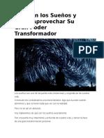 Qué Son Los Sueños y Cómo Aprovechar Su Gran Poder Transformador