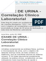 EXAME de URINA - Correlação Clínico Laboratorial EXAME de URINA - Correlação Clínico Laboratorial