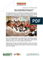 2016-05-17 Dignificaremos Las Condiciones Laborales de Los Trabajadores, Enrique Serrano a Cetemistas