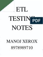 ETL Notes