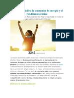5 Maneras Fáciles de Aumentar La Energía y El Rendimiento Físico