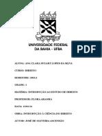 Fichamento - INTRODUÇÃO À CIÊNCIA DO DIREITO- JOSÉ DE OLIVEIRA ASCENSÃO.docx