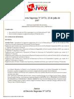 Bolivia Decreto Supremo Nº 24721, 23 de Julio de 1997
