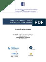 L'expertise dans les contentieux sanitaires et environnementaux - Programme Atelier Expertise 29 Janvier 2010