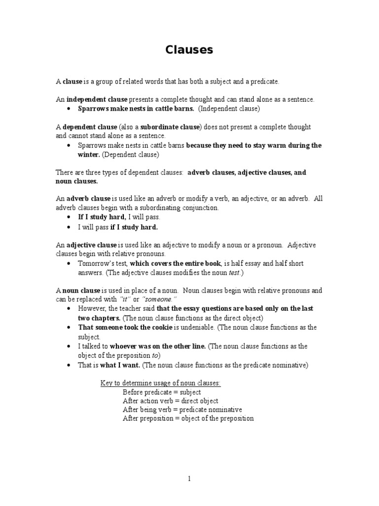 English 2 Workbook Clause – Subordinate Clauses Worksheet