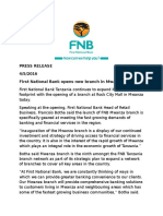 Press Release - FNB Mwanza Branch