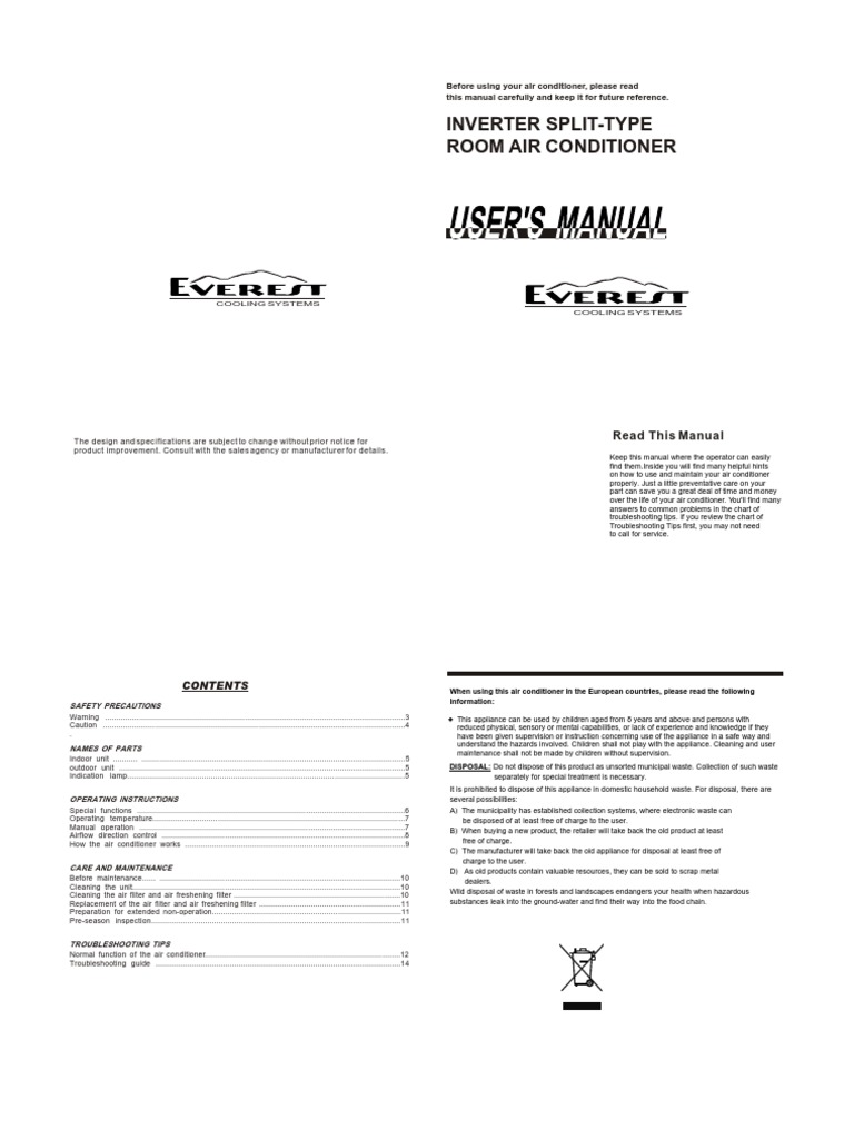 Users Manual | Air Conditioning | Hvac