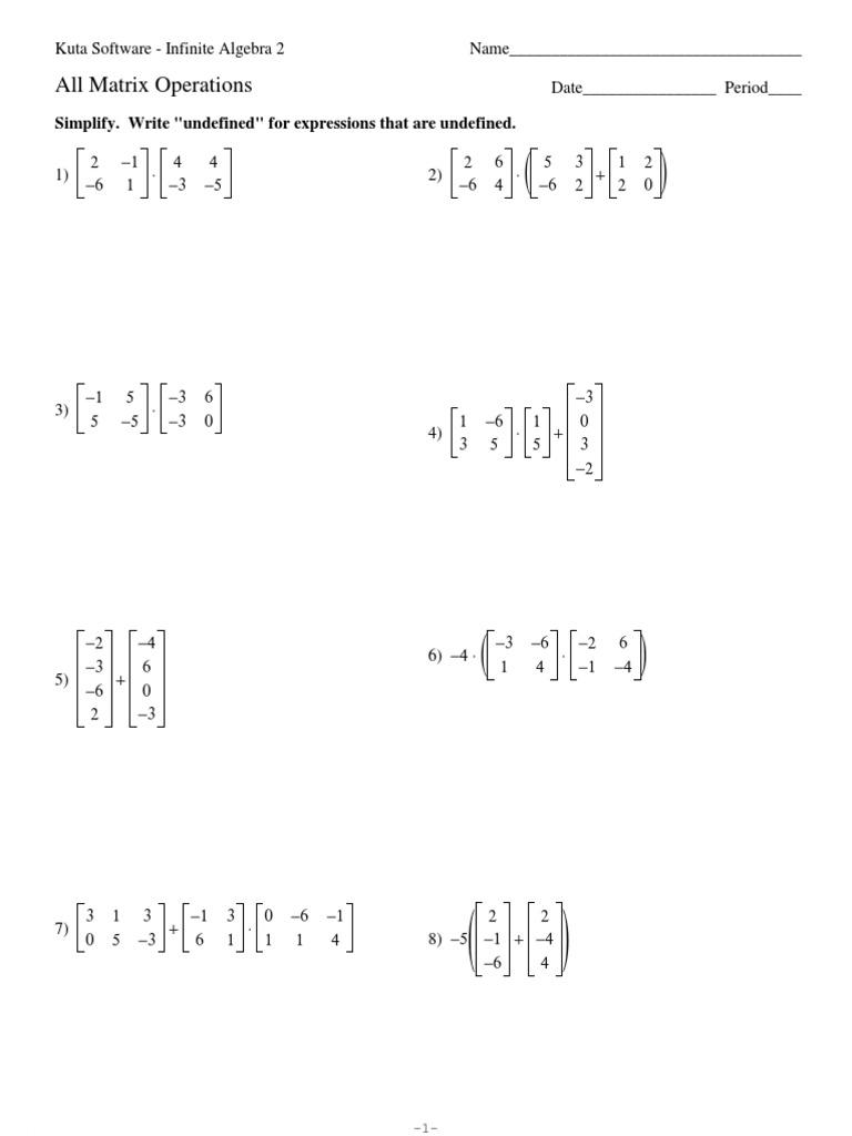 Worksheets Matrix Operations Worksheet 1525782268v1
