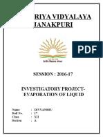 Chemistry Investigatory Project on Evaporation of Liquid