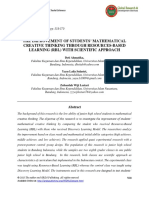 The Improvement of Students Mathematical Creative Thinking Through Resources-based Learning Rbl With Scientific Approach