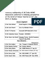 Honorary Members List