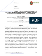 The Relationship Between School Leadership and Job Satisfaction of Secondary School Teachers-A Mediating Role of Teacher Empowerment