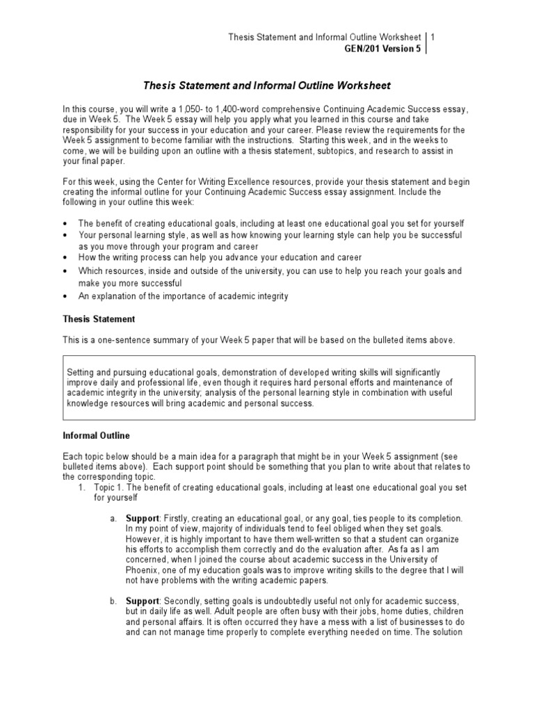 Gen201 r5 Thesis Statement Outline Worksheet Copy – Learning Styles Worksheet