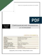Criptoanálisis más utilizados en la actualidadUniversidad Francisco Vitoria