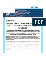 Schuette Issues Cease and Desist Order to Deceptive Metro Detroit Firefighter Fundraiser