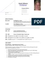 Sarah Williams CV