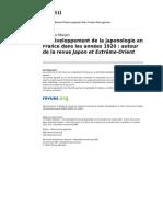 Ebisu 1388 51 Le Developpement de La Japonologie en France Dans Les Annees 1920 Autour de La Revue Japon Et Extreme Orient