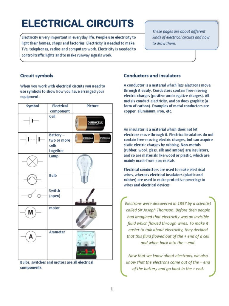 2 Electric Circuits Note Series And Parallel Electrical Circuit Bulbs Are In Conductor