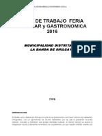 Plan de Trabajo Feria FERIA 2016
