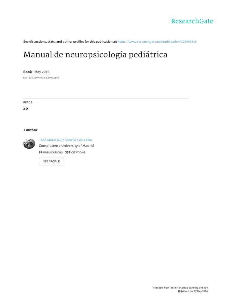 dbf7d5b93fa Manual de Neuropsicologia Pediátrica (Ruiz Sa-nchez de Leo-n