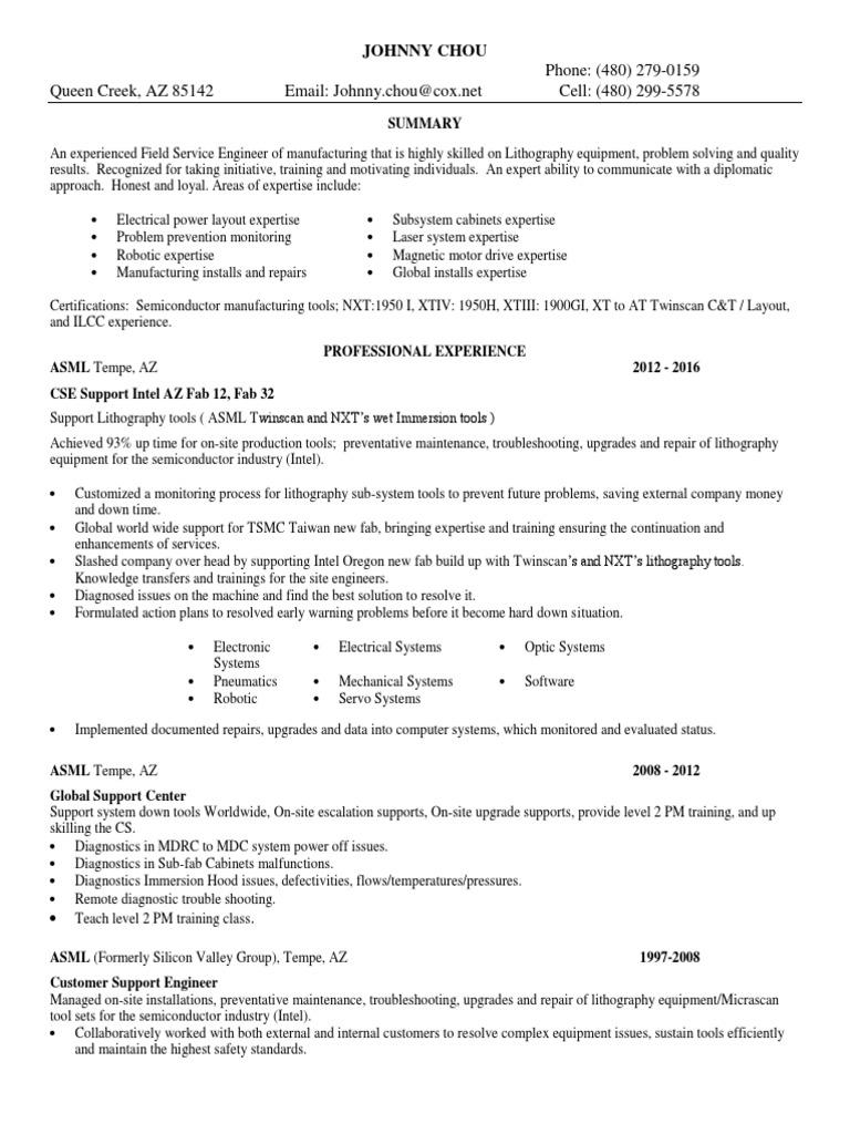 field service engineer electrical in phoenix az resume