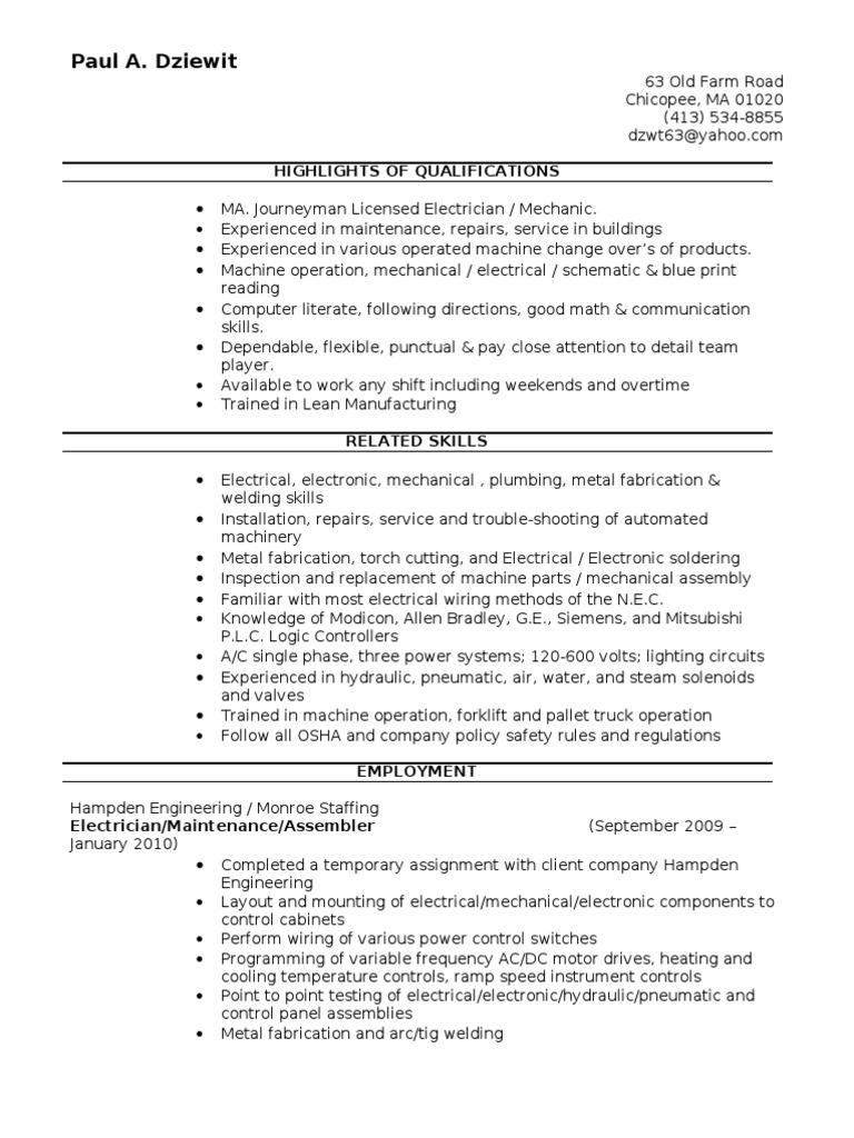 Jobswire Com Resume Of Dzwt63 Machines Electrician