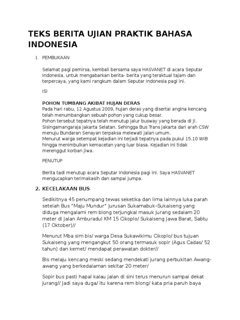 Teks Berita Ujian Praktik Bahasa Indonesia
