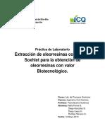 Laboratorio N°2. Extracción de oleorresinas con equipo Soxhlet.